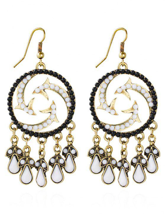 latest Bohemian Beads Twisted Water Drop Earrings - BLACK