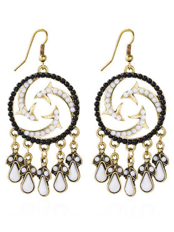 Boucles d'oreilles goutte d'eau de Bohême Perles Twisted - Noir