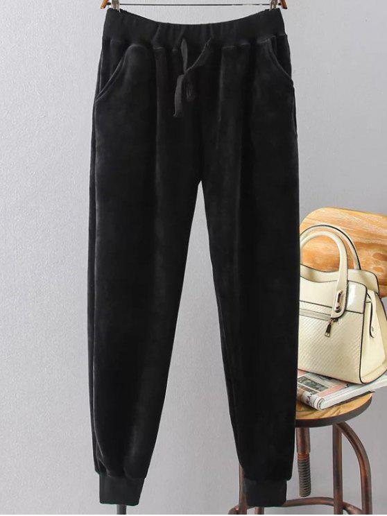 Pantalon de sport en velours à grande taille - Noir 3XL