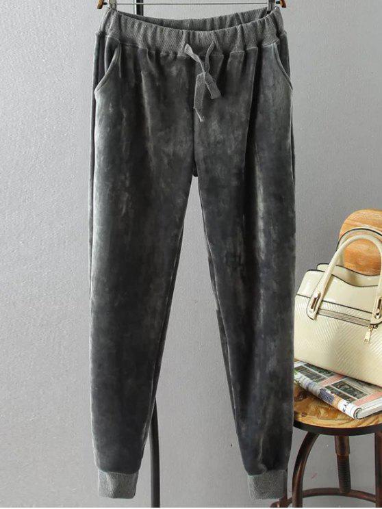 outfits Plus Size Velvet Jogging Pants - GRAY 3XL