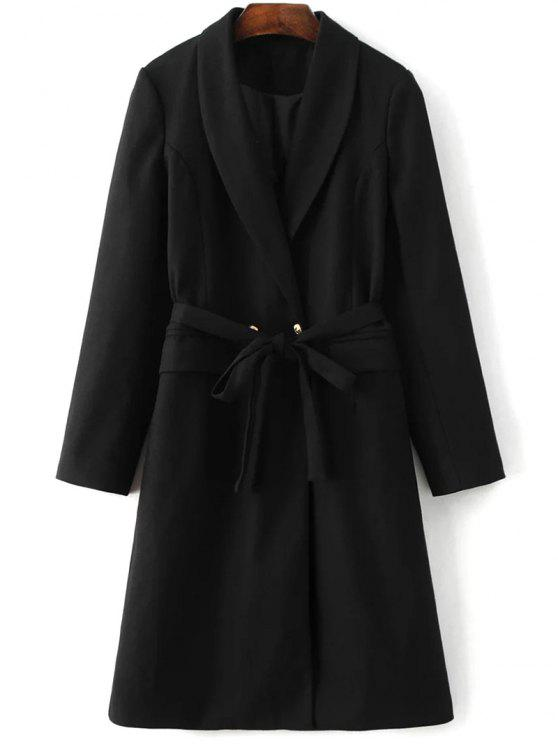 fancy Wool Blend Shawl Coat - BLACK S