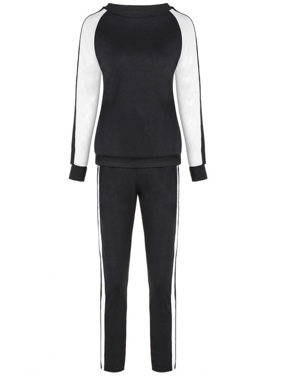 ladies Raglan Sleeve Sweatshirt + Sport Pants - BLACK M