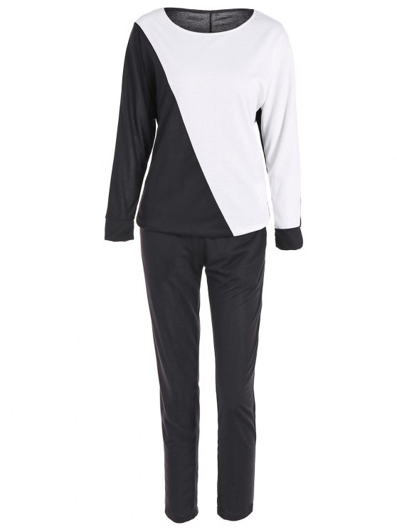 Color Block Sweatshirt + Pantalons Sport - Noir L