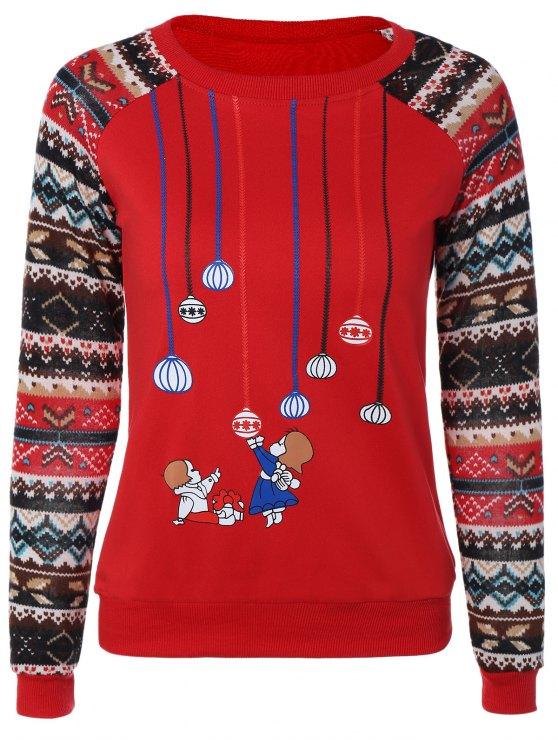 buy Print Spliced Sweatshirt - RED M
