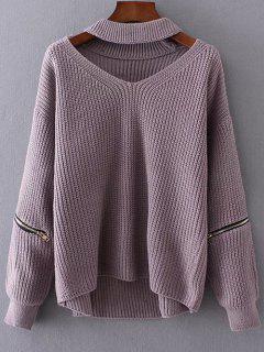 Cut Out Chunky Choker Sweater - Light Purple