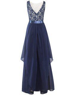 Robe Maxi Asymétrique Avec Broderies - Bleu Violet S