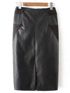 PU Leather Patchwork Midi Pencil Skirt - Black L
