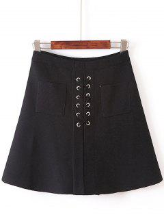 Front Pocket Lace-Up Knitted Skirt - Black