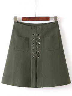 Front Pocket Lace-Up Knitted Skirt - Army Green
