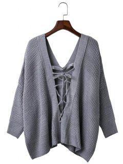 Loose Back Lace Up Plunge Neck Sweater - Gray