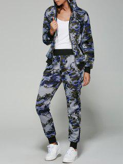 Camo Hooded Sports Suit - Navy Blue L