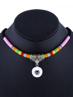 Simple Carved Ethnic Rope Necklace - Pink
