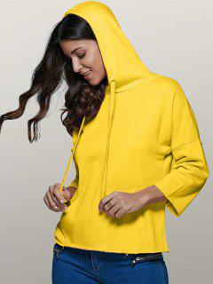 Big Pocket Long Sleeve Drawstring Hoodie - Yellow S
