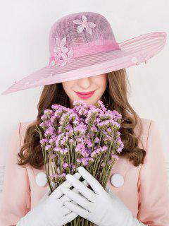 Flower Embroidery Faux Pearl Church Hat - Pink