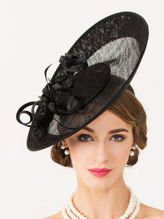 Handmade Flower Linen Fascinator Hat - Black