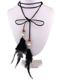 Faux Leather Velvet Feather Bows Choker - Black