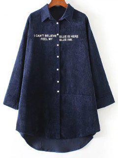 Graphic Corduroy Shirt Dress - Purplish Blue S