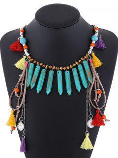 Résine Layered Necklace Fringe - Turquoise