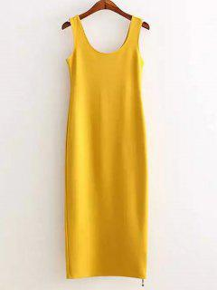 Zippered Slimming Tank Dress - Yellow