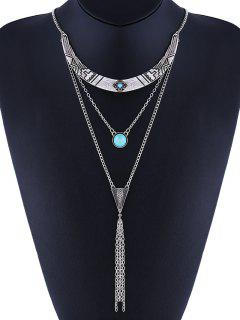 Faux Turquoise Geometric Layered Bohemian Necklace - Silver