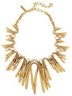 Retro U Shape Embellished Necklace - Golden