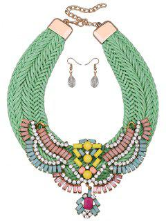 Weaving Rhinestone Faux Crystal Jewelry Set - Green