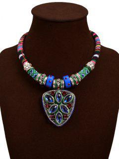 Fake Turquoise Triangle Pendant Necklace - Blue
