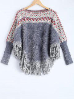 Fluffy Batwing Sweater - Red And White And Blue