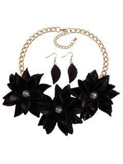 Leaf Floral Statement Jewelry Set - Black