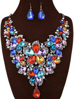 Faux Crystal Flower Statement Jewelry Set - White