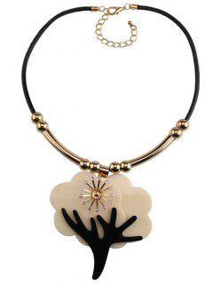 Floral Deer Horn Embellished Necklace - Black
