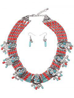 Turquoise Water Drop Beads Jewelry Set - Green