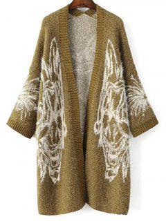 Jacquard Knit Cardigan Oversize - Jaune Vert