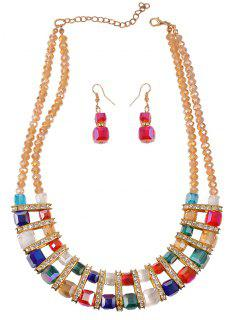 Layered Faux Crystal Beads Wedding Jewelry Set