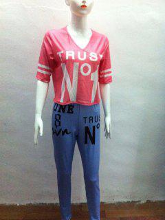 Haut Rayé Et Pantalon Graphiques - Rouge S