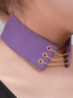Faux Leather Velvet Bowknot Chains Choker - Purple