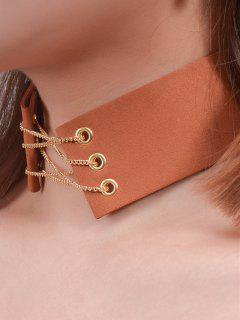 Faux Leather Velvet Bowknot Chains Choker - Brown