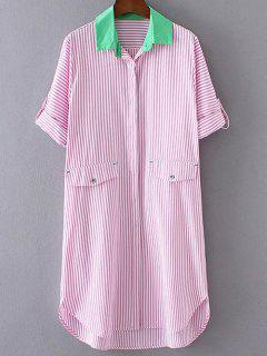 Striped Buttoned Shirt Dress - Pink S