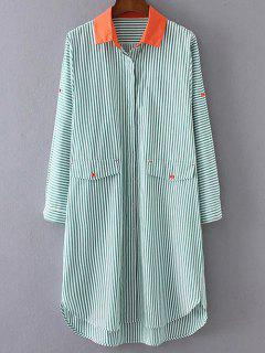 Striped Buttoned Shirt Dress - Green M