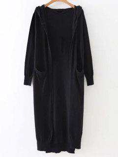 Hooded Duster Cardigan - Black