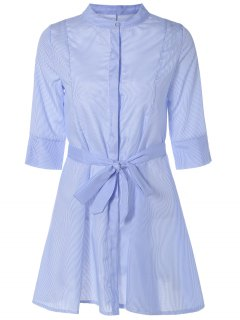 Self Tie Stripe A Line Dress - Light Blue S