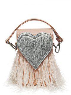 Color Block Heart Pattern Fringe Bag - Pink