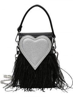 Color Block Heart Pattern Fringe Bag - Black