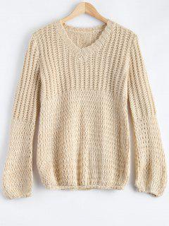 V Neck Thicken Puff Sleeve Sweater - Light Apricot S