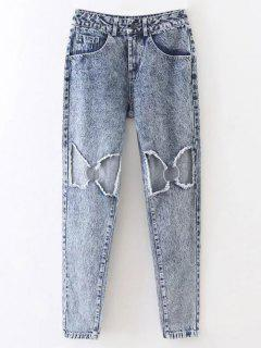 Metal Ring Broken Hole Tapered Jeans - Light Blue M