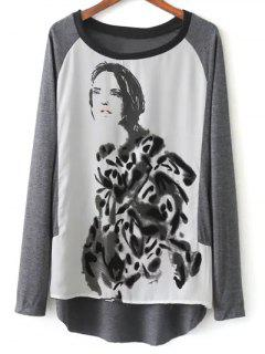 Raglan Sleeve Ink Painting T-Shirt - Grey And White L