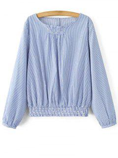 Striped Smocks Taille Blouson Top - Bleu S