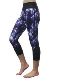Capri Printed Skinny Yoga Leggings - Blue Xs