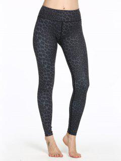 Leopard Skinny Sports Leggings - Black Xxs