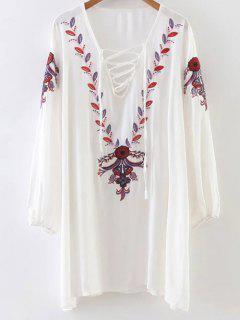 Vestido Bordado Relajado De Manga Larga - Blanco
